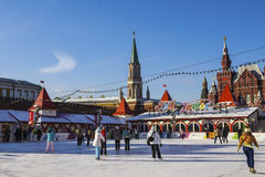 MOSCOW, RUSSIA - JANUARY 25: rink on Red Square in Moscow on 25 Royalty Free Stock Photo