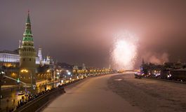 Moscow, salute near Kremlin Stock Images