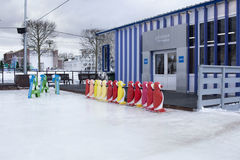 MOSCOW, RUSSIA - January 20, 2017: Skating rink on VDNKh park. Royalty Free Stock Photos
