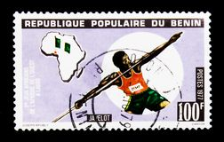 Javelin throw, 2nd African Games of West Africa serie, circa 1977. MOSCOW, RUSSIA - JANUARY 2, 2018: A stamp printed in Benin shows Javelin throw, 2nd African Royalty Free Stock Images
