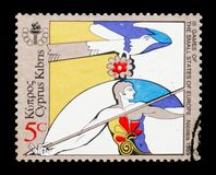 3rd Games of Small States of Europe - Javelin Thrower, Sports and Events serie, circa 1989. MOSCOW, RUSSIA - JANUARY 2, 2018: A stamp printed in Cyprus devoted Royalty Free Stock Image