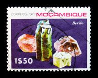 Beryl, Minerals of Mozambique serie, circa 1979. MOSCOW, RUSSIA - JANUARY 2, 2018: A stamp printed in Mozambique shows Beryl, Minerals of Mozambique serie, circa Royalty Free Stock Photo