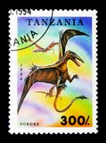 Sordes, Prehistoric animals serie, circa 1994. MOSCOW, RUSSIA - JANUARY 2, 2018: A stamp printed in Tanzania shows Sordes, Prehistoric animals serie, circa 1994 Stock Photography