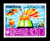 Book on Arabs, Education serie, circa 1980. MOSCOW, RUSSIA - JANUARY 2, 2018: A stamp printed in Yemen shows Book on Arabs, Education serie, circa 1980 Stock Images