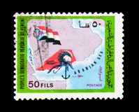 Map, flag of South Yemen, serie, circa 1971. MOSCOW, RUSSIA - JANUARY 2, 2018: A stamp printed in Yemen shows Map, flag of South Yemen, serie, circa 1971 Royalty Free Stock Photography