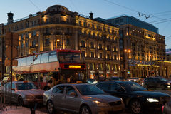 MOSCOW, RUSSIA - January 10.2016. Tourist bus on background of National Hotel Stock Photo