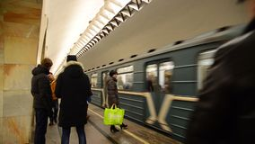 Moscow, Russia - January 17, 2015. The train. Arrives at  a Kuznetsky Most metro stadium stock video footage