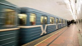Moscow, Russia - January 17, 2015. The train. Arrives at the Lubyanka metro station stock video footage