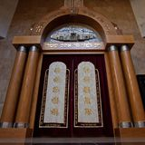 The holy of holies. Moscow / Russia- Jul, 12, 2018: interior of the memorial synagogue in Victory Park Moscow. The synagogue is empty on weekdays. the holy of stock photo