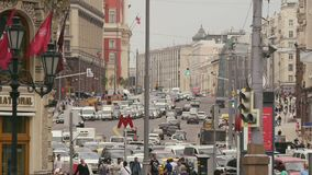 MOSCOW, RUSSIA - JULE 22, 2016: view of the Tverskaya Street. View of the new Tverskaya Street stock footage