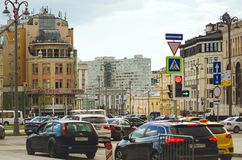 Cars driving on the streets of Moscow. royalty free stock photography