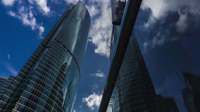 MOSCOW, RUSSIA - July, 13, 2016. City business district skyscrapers and Novotel hotel. View from below Stock Image
