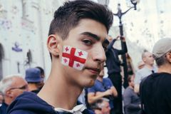English fan celebrating on the street in Moscow Stock Photo