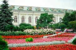 Exhibition hall `Manezh` in Alexandrovskiy garden on Manezhnaya square, has been built in 1817 year. stock photography