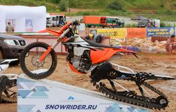 Exhibition of snowbike Royalty Free Stock Photography