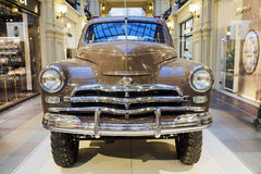 MOSCOW, RUSSIA-JULY 11: Exhibition of Soviet vintage cars in the Royalty Free Stock Photos