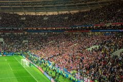MOSCOW, RUSSIA - July 11, 2018: Football fans celebrating during the FIFA 2018 World Cup in the semi finals football match between royalty free stock images