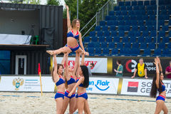 Cheerleaders. MOSCOW, RUSSIA - JULY 22-23, 2017: Group of excited young cheerleaders on the European Beach Fives Rugby Championship 2017 at the stadium of the Royalty Free Stock Images