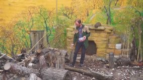 MOSCOW-RUSSIA-JULY 5. 2019 Man Feeding Mogoose In a Zoo stock video footage