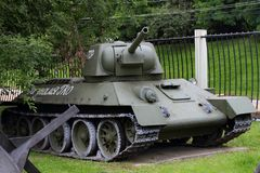 Medium Tank T-34 USSR on grounds of weaponry exhibition in Vic Royalty Free Stock Photos