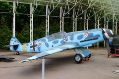 Messerschmitt  Bf 109 fighter Germany on grounds of weaponry e Royalty Free Stock Image