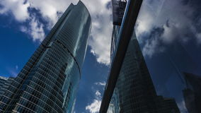 MOSCOW, RUSSIA - July, 13, 2016. Moscow city business district skyscrapers and Novotel hotel 4K time lapse. View from stock video footage