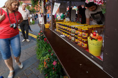 Moscow, Russia, July 24, 2016, the Moscow Summer Festival, Moscow jam. Moscow, Russia, July 24, 2016, the Moscow Summer Festival, Moscow jam Fair. Stalls with stock image