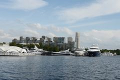 Motor yachts are moored in a parking lot at the Khimki Reservoir in Moscow. Stock Photography