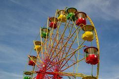 Moscow, Russia - July 2013. Multicolored ferris wheel in Gorky Park. royalty free stock photos