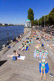 MOSCOW, RUSSIA-JULY 4: Olive Beach in Gorky Park on the banks of Stock Photos