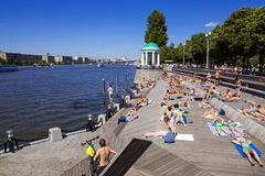 MOSCOW, RUSSIA-JULY 4: Olive Beach in Gorky Park on the banks of Stock Photo