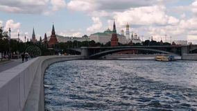 MOSCOW, RUSSIA - JULY, 2019: panoramic view over Moscow river and Kremlin. Timelapse stock video footage