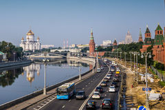 Moscow, Russia - July 2016. Panoramic view to Moscow Kremlin. Royalty Free Stock Photography