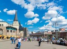 Moscow, Russia - July 24. 2017. People are walking along Komsomolskaya square near Yaroslavsky railway station. Moscow, Russia - July 24. 2017. people are Stock Photography