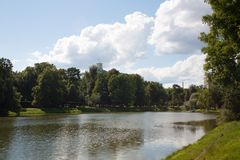 Pond in Ekaterinensky Park in Moscow 21.07.2017 Royalty Free Stock Image