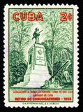 Monument to victorious 1929, San Juan hill, Retirement communications-1958, Armed soldier, circa 1958. MOSCOW, RUSSIA - JULY 15, 2017: Rare stamp printed in Cuba Royalty Free Stock Photo