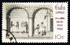 MOSCOW, RUSSIA - JULY 15, 2017: Rare stamp printed in Cuba shows. Scene on Cathedral square in 19th century, circa 1963 Stock Photos