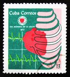 MOSCOW, RUSSIA - JULY 15, 2017: Rare stamp printed in Cuba shows. Shows cardiogram and devoted preventive cardiovascular health care, circa1972 Stock Images
