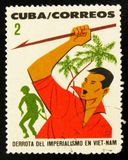MOSCOW, RUSSIA - JULY 15, 2017: Rare stamp printed in Cuba shows Royalty Free Stock Image