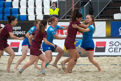 Cruel game. MOSCOW, RUSSIA - JULY 22-23, 2017: Rugby players in action at the  on European Beach Fives Rugby Championship 2017 in the match Russia blue vs Stock Images