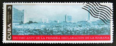 MOSCOW, RUSSIA - JULY 15, 2017: A stamp printed in Cuba dedicate. D to 10th anniversary of the first declaration of Havana, circa 1970 Royalty Free Stock Photo