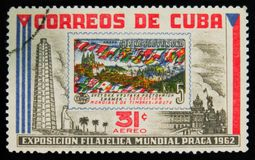MOSCOW, RUSSIA - JULY 15, 2017: A stamp printed in Cuba shows ci. Rca with flags of different countries of Czechoslovakia, devoted to philatelic exhibition in Royalty Free Stock Images