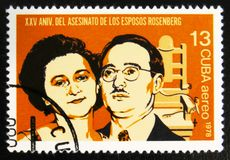 MOSCOW, RUSSIA - JULY 15, 2017: A stamp printed in Cuba shows Et. Hel and Julius Rosenberg execution, 25 anniversary, circa 1978 royalty free stock photography