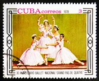 MOSCOW, RUSSIA - JULY 15, 2017: A stamp printed in Cuba shows 30th anniversary of the National Ballet 'grand pas de. MOSCOW, RUSSIA - JULY 15, 2017: A stamp royalty free stock images