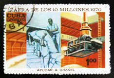 Worker on sugar farm, dedicated to harvest of 10 million, circa 1970. MOSCOW, RUSSIA - JULY 15, 2017: A stamp printed in Cuba shows worker on sugar farm royalty free stock images