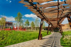 Moscow, Russia - July 06, 2018: Tufeleva roscha architecture park in Moscow. Summer day at landscape park walk Stock Images