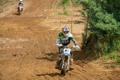 Aspiration to finish. MOSCOW, RUSSIA - JULY 1, 2017: Unrecognized young athletes, in the Velyaminovo Race Weekend 2017, Motopark Velyaminovo, Istrinsky district stock photo