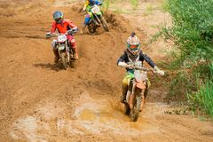 Moto competitions. MOSCOW, RUSSIA - JULY 1, 2017: Unrecognized young athletes, in the Velyaminovo Race Weekend 2017, Motopark Velyaminovo, Istrinsky district royalty free stock photography