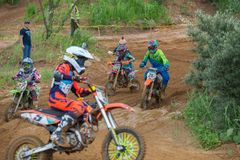 In pursuit of victory. MOSCOW, RUSSIA - JULY 1, 2017: Unrecognized young athletes, in the Velyaminovo Race Weekend 2017, Motopark Velyaminovo, Istrinsky district stock photo