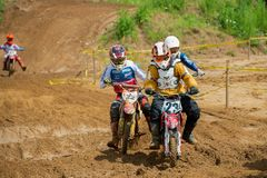 Striving for victory. MOSCOW, RUSSIA - JULY 1, 2017: Unrecognized young athletes, in the Velyaminovo Race Weekend 2017, Motopark Velyaminovo, Istrinsky district stock photography